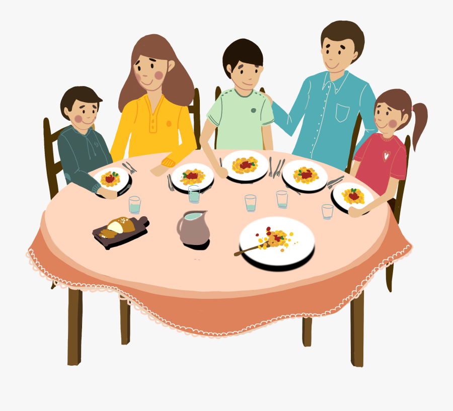 Transparent Family Dinner Table Clipart.