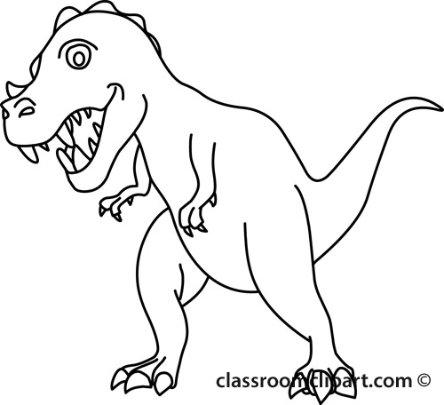 Clipart Dinosaur Black And White.