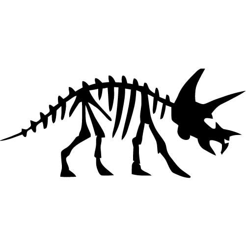 Triceratops Dinosaur Fossil SMALL Vinyl Wall Decal by wallstickz.