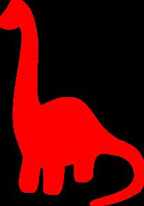 Red Dinosaur Silhouette Clip Art.