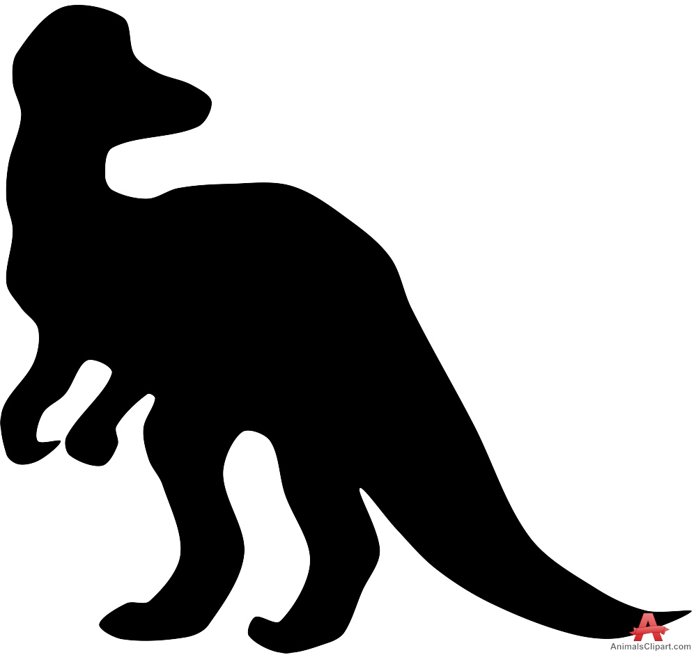Corythosaurus Dinosaur Silhouette Clipart.