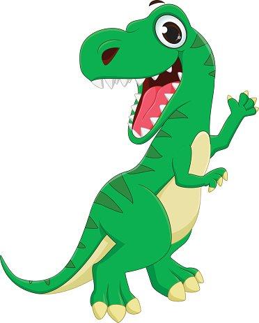 Illustration of Dinosaurs Cartoon Waving Hand premium clipart.