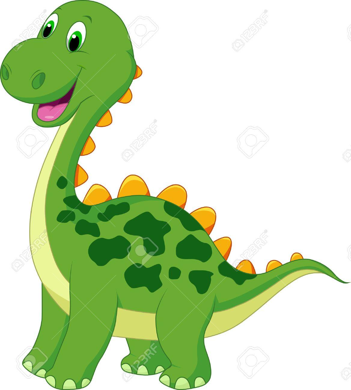 Cute green dinosaur cartoon.