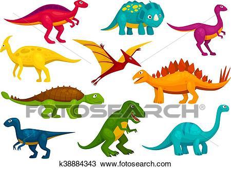 Dinosaurs cartoon collection. Vector animals Clipart.