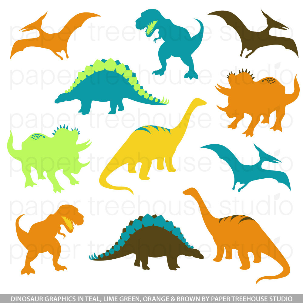 Clip Art Set Dinosaurs TRex Brontosaurus By Papertreehousestudio.