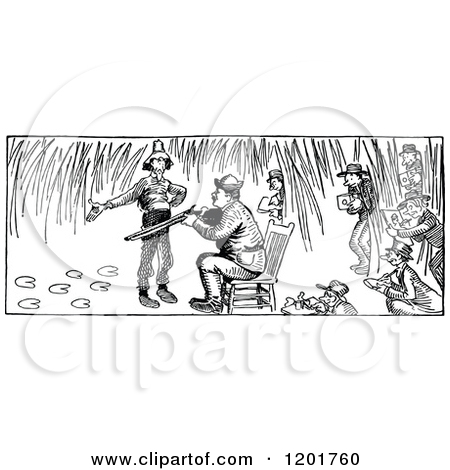 Clipart of a Vintage Black and White Hunter and People Directing.