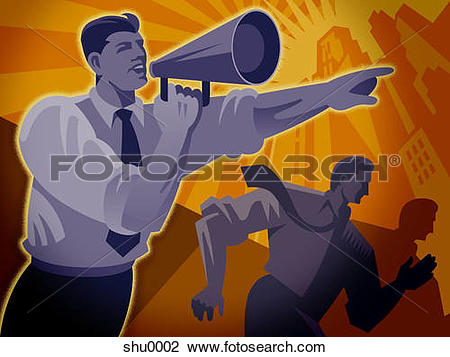 Clip Art of A man shouting into a megaphone and directing people.