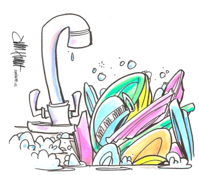 Dirty Dishes In Sink Clipart.