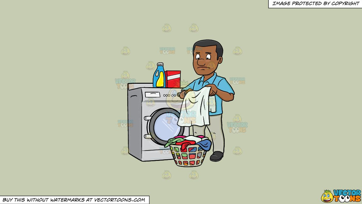 Clipart: A Black Man Looks At A Washed Garment With Disappointment On His  Face on a Solid Pale Silver C6Ccb2 Background.