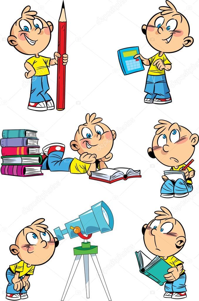 Garçon de la bande dessinée avec les disciplines scolaires — Image.