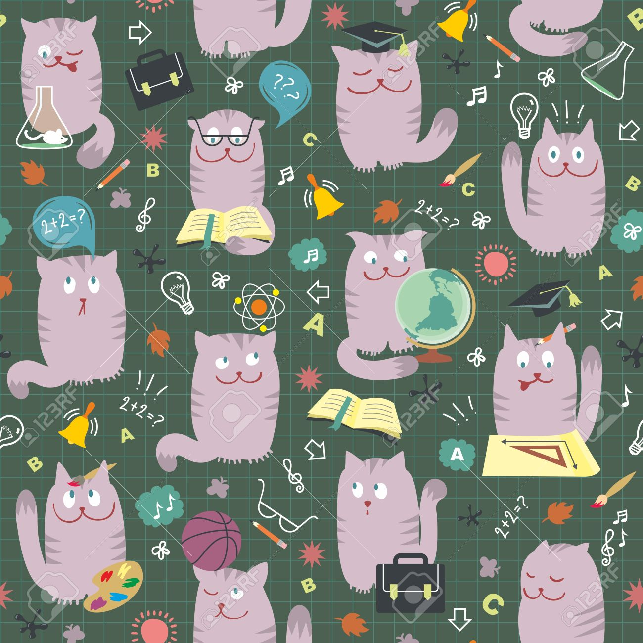 Seamless Pattern With Intelligents Chats Mignons Studing Diverses.