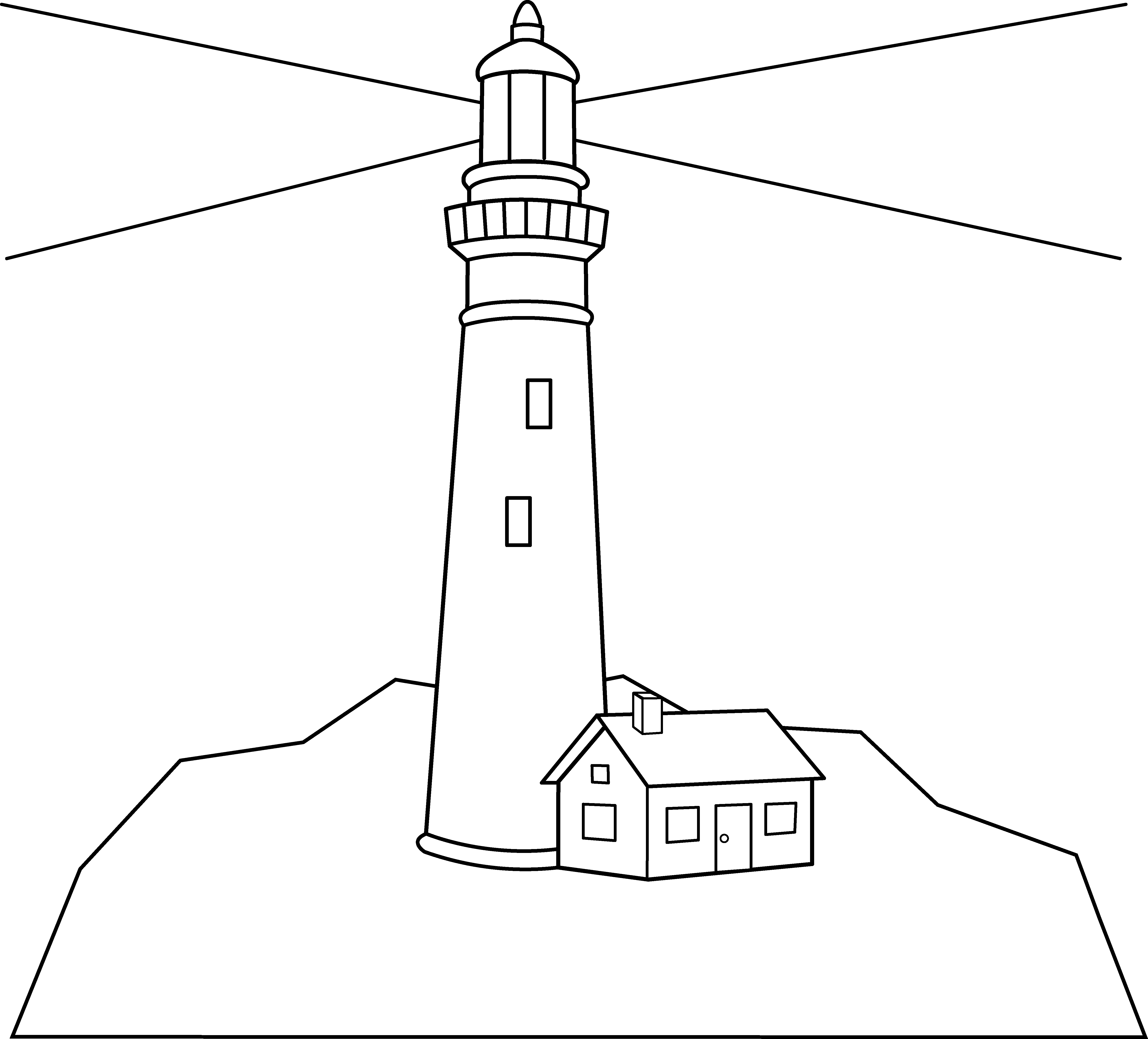 Lighthouse Outline With Free Clipart Outline Drawing Of A.