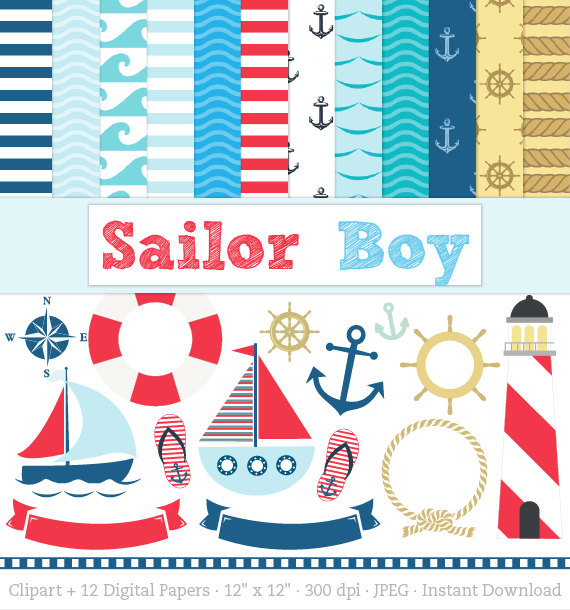 Nautical Paper Pack, Sailor Clipart, includes Sailing Boats.