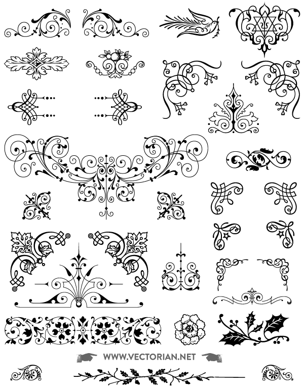 85 Free Vintage Vector Ornaments Pack.