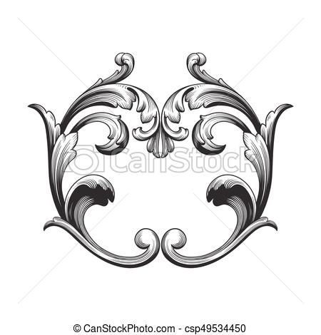 Vintage baroque ornament element.