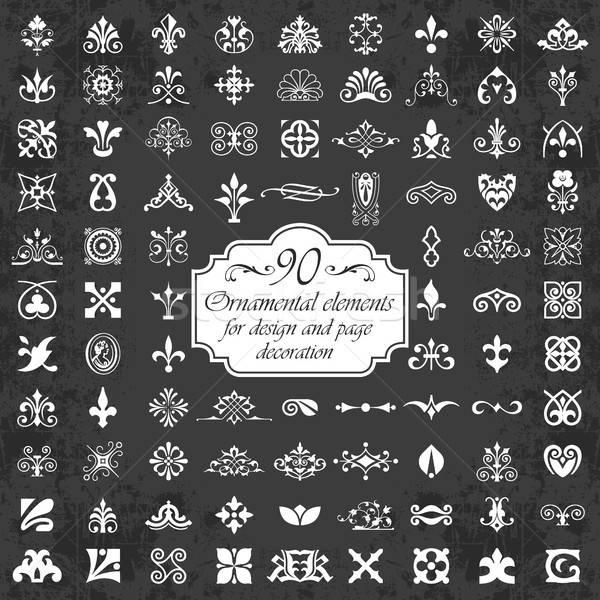 Díszítő · elemek · terv · oldal · dekoráció · tábla.