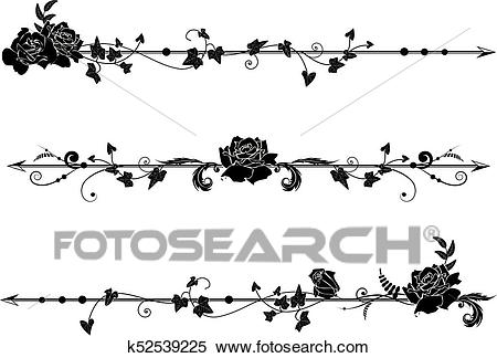 Dividers with roses and ivy Clipart.