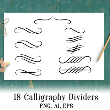 18 Calligraphy Dividers, Page Divider Clipart, Calligraphy Clipart, Flourish.