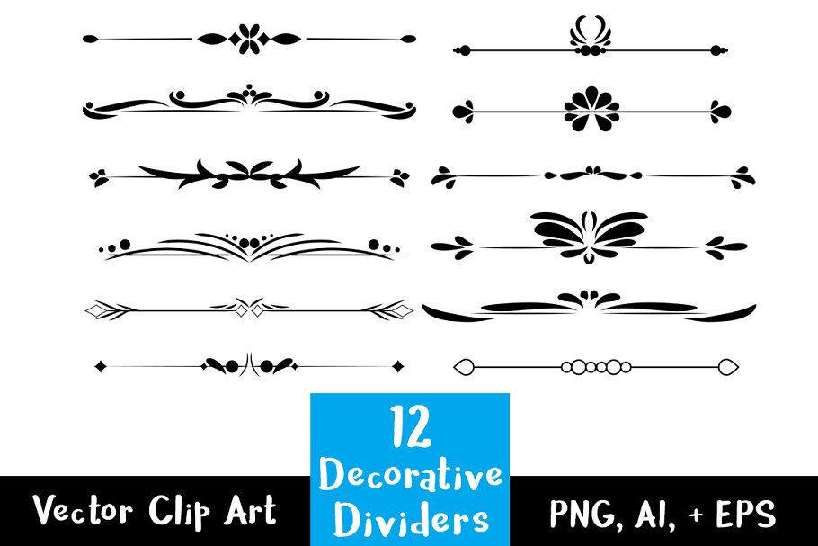 12 Decorative Vintage Text Dividers.