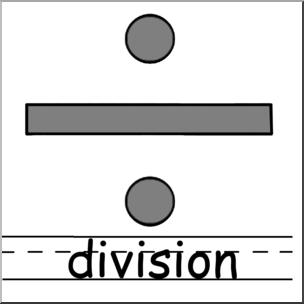Clip Art: Math Symbols: Set 2: Division Grayscale Labeled I.