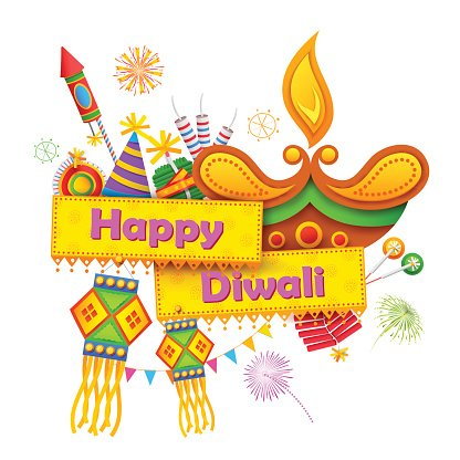 Happy Diwali background with diya and firecracker Clipart.