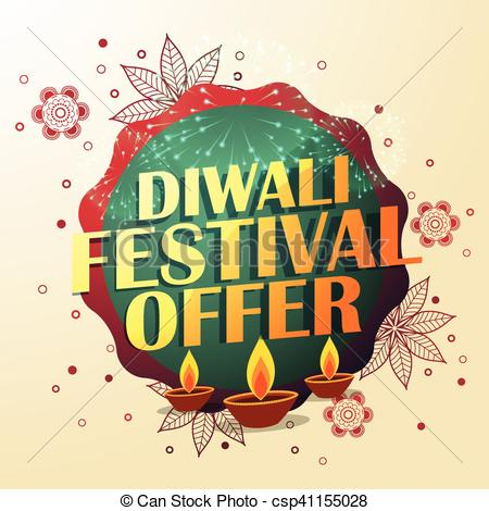diwali festival offer with beautiful decoration and three diyas.