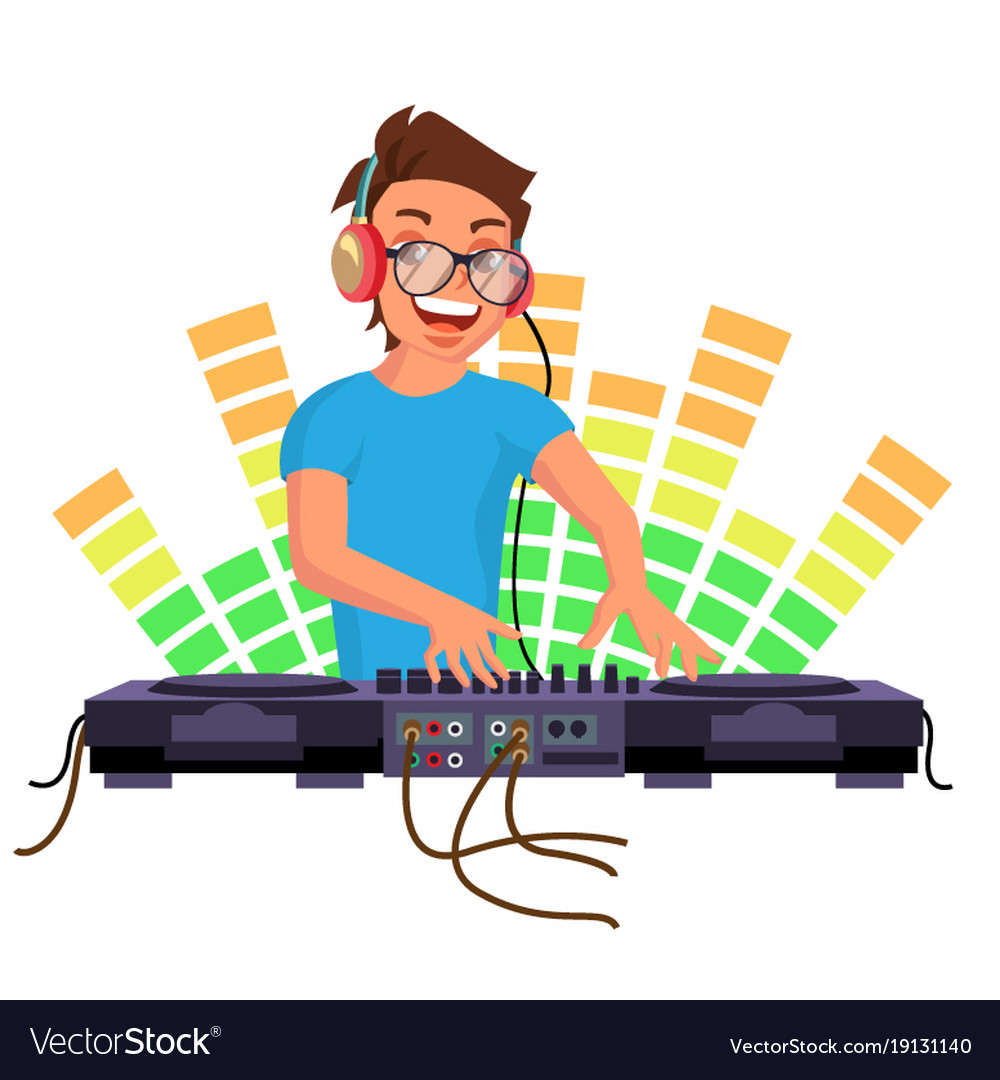 Professional dj playing disco house music.