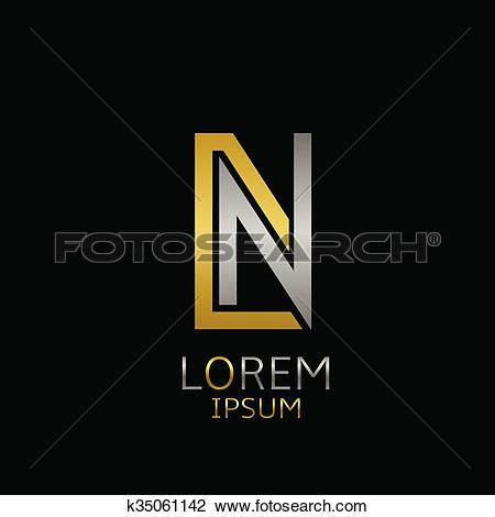 Clipart of DN letters logo k35061142.