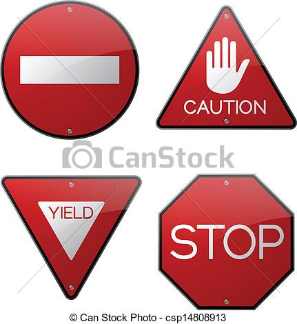 Vector Clip Art of Do Not Enter Caution Yield and Stop.