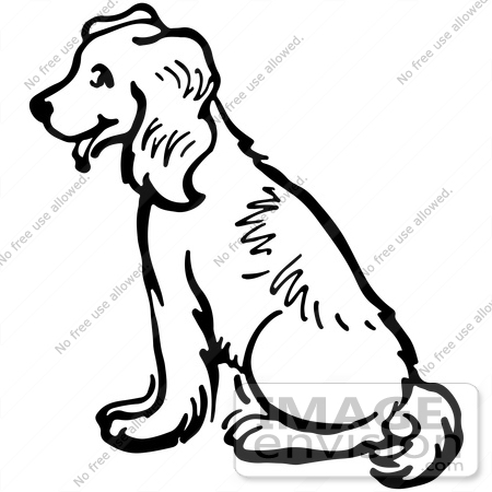 Clipart Of A Happy Sitting Dog In Black And White.