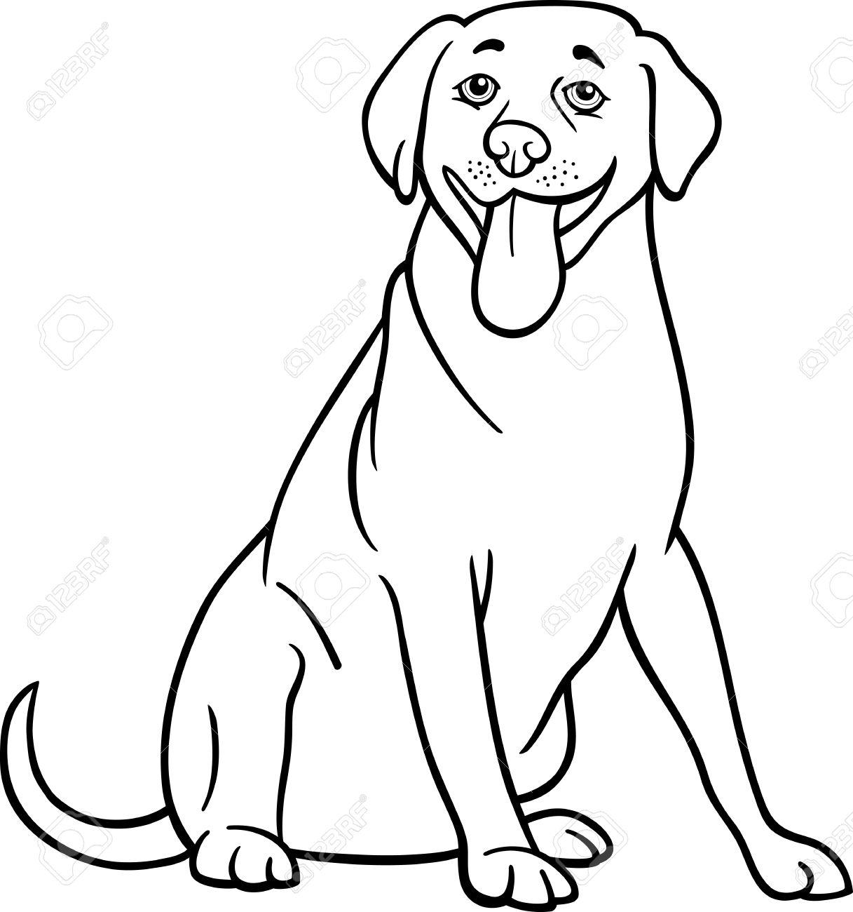 Black and White Cartoon Illustration of Funny Labrador Retriever...