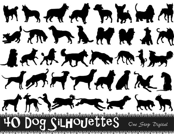 Instant Download 40 Digital Dog Silhouette Clip Art Black Dog.