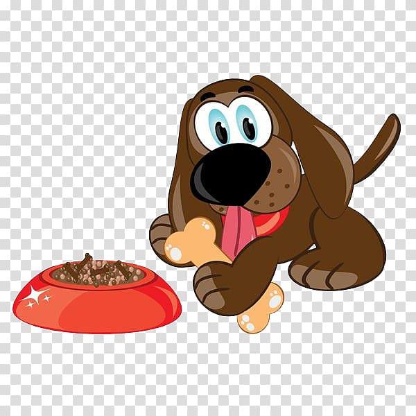 Dog Puppy Cartoon Illustration, A dog eating bones.