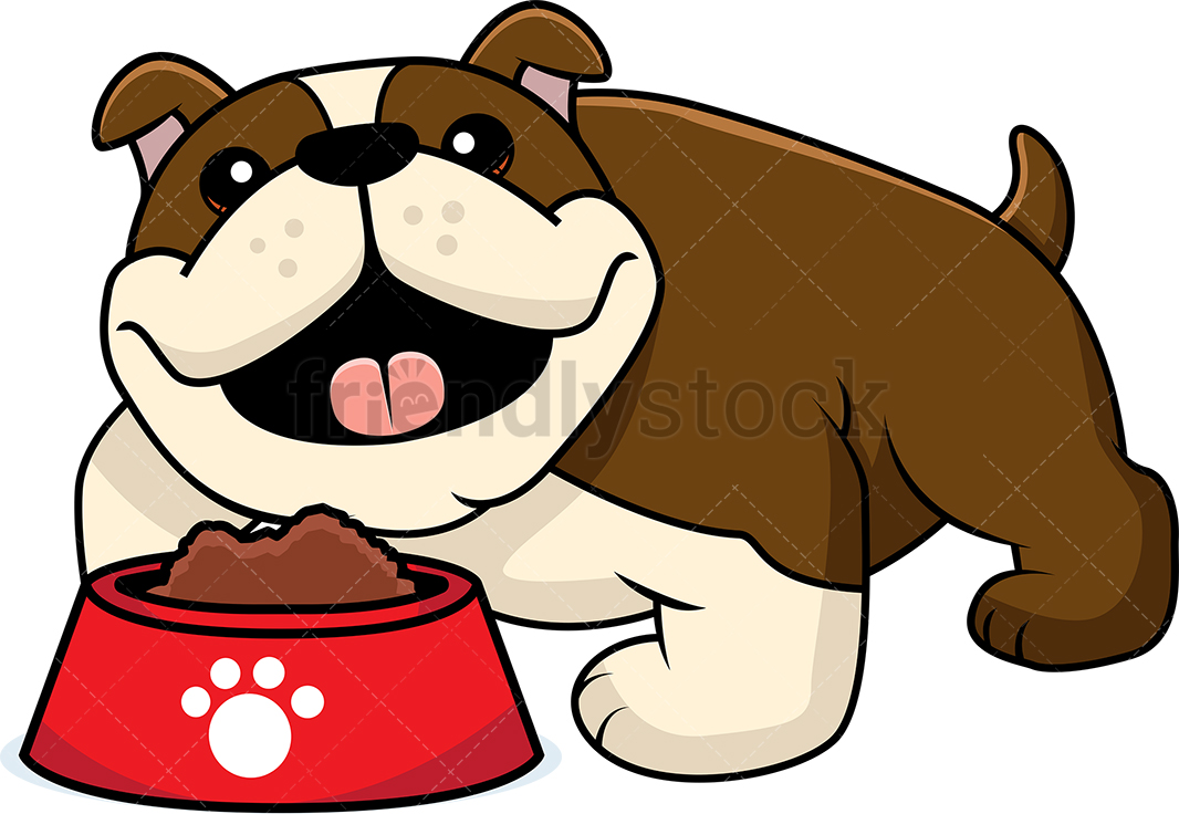 Adorable Bulldog With A Bowl Of Dog Food.