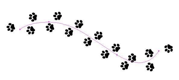 clipart dog print trail #6
