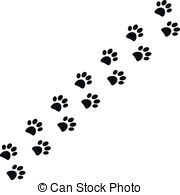clipart dog print trail #16