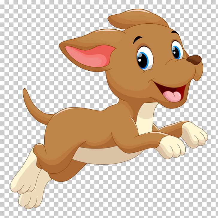 Dog Puppy Cartoon , Running puppy, brown dog illustration.