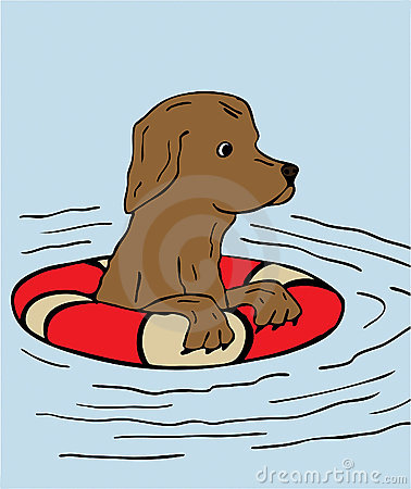 Dog Swimming Clipart.