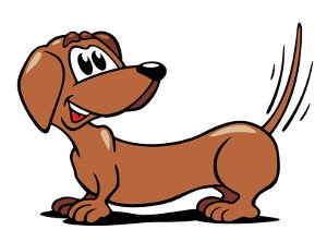 End view of wagging dog tail clipart.