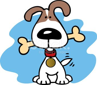 Cute dog with a bone. Clipart Image.