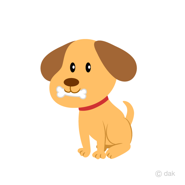 Free Puppy with Bone Clipart Image|Illustoon.
