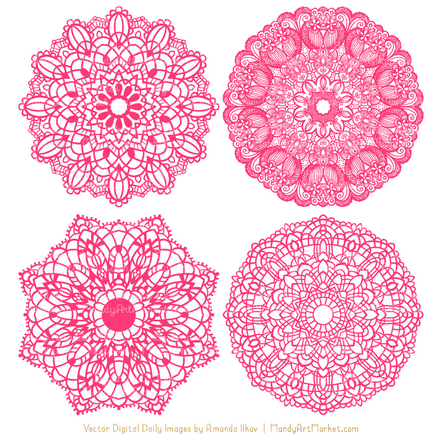 Hot Pink Round Lace Doily Vectors.