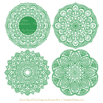 Anna Lace Green Doily Vectors.