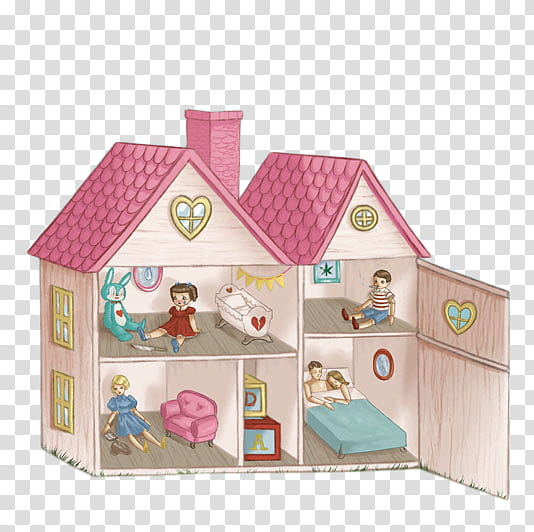 Cry Baby, red and brown doll house transparent background.