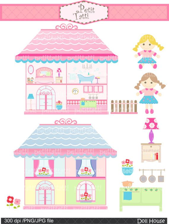 doll house clip art , girl clip art , Digital clip art. for.