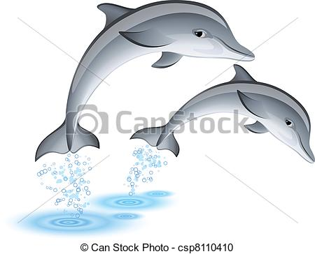 Stock Illustrations of Jumping Dolphins.