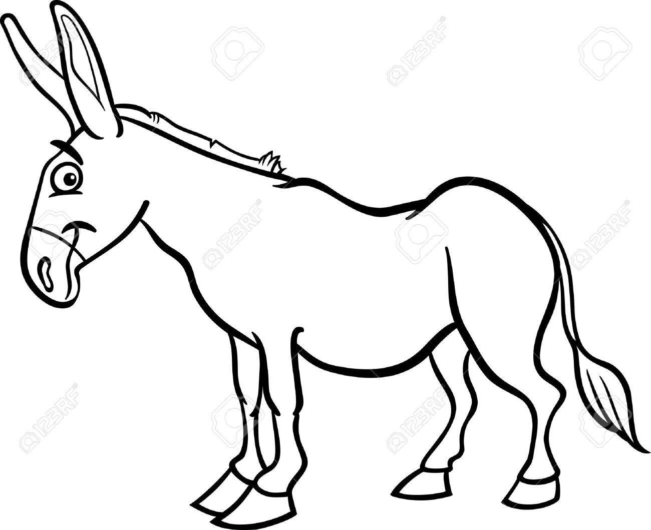 Black and White Cartoon Illustration of Funny Donkey Farm Animal...