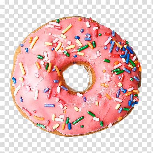 Pink doughnut with toppings, Donuts Frosting & Icing.