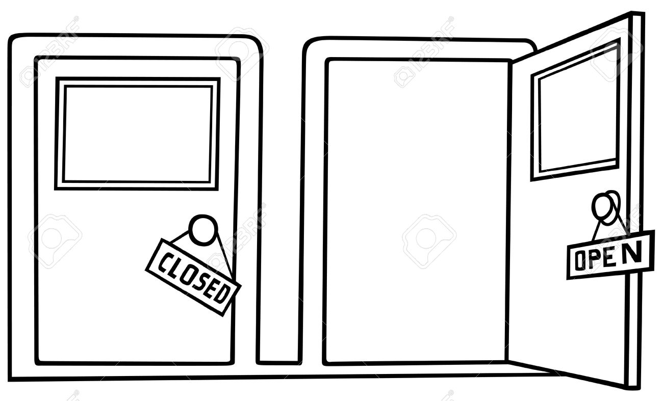 clipart door black and white #8