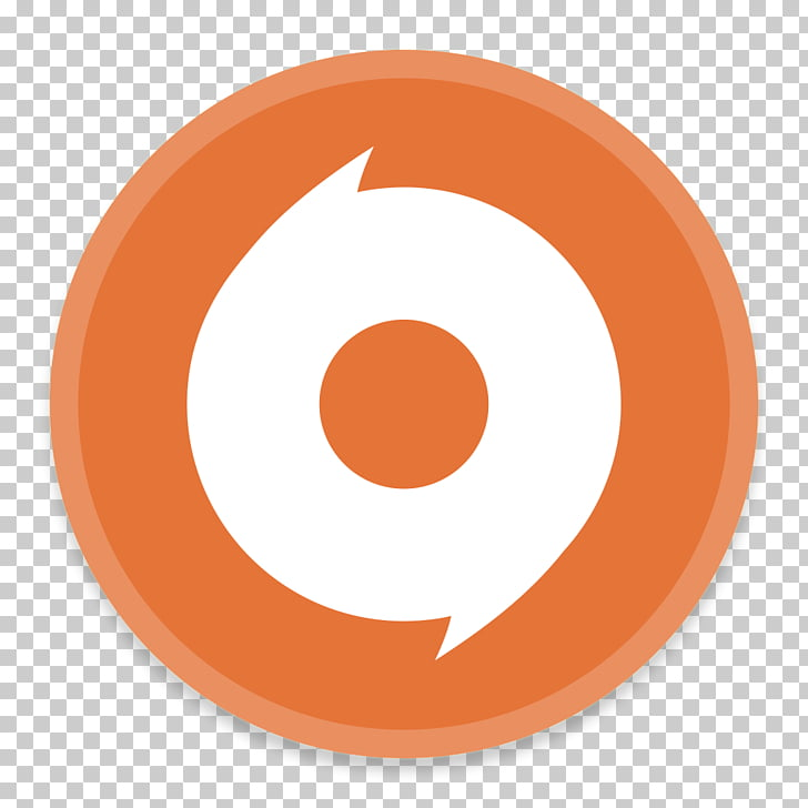 Symbol brand , Origin, round orange and white logo PNG.